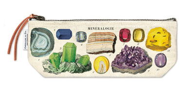 Cavallini & Co. Mineralogy Mini Pouches feature a colorful collection of precious gems and minerals.
