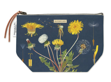 Cavallini & Co. Dandelion Vintage Pouches feature vintage images from the Cavallini archives. 100% natural cotton bags are lined and have gusseted bottoms to stand on their own.