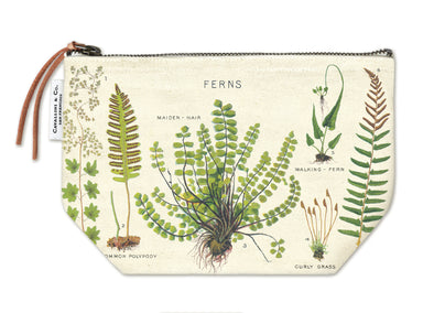 Cavallini & Co. Fern Vintage Pouch features vintage images from the Cavallini archives. 100% natural cotton bags are lined and have gusseted bottoms to stand on their own.
