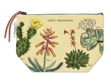 Cavallini & Co. Succulents Vintage Pouches feature vintage images from the Cavallini archives. 100% natural cotton bags are lined and have gusseted bottoms to stand on their own.