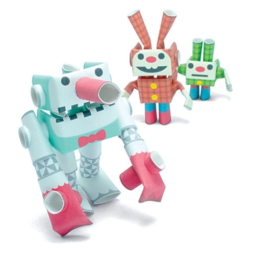 Snow Giant & Lop & Dwarf PIPEROID is a three pack of Japanese paper robots.