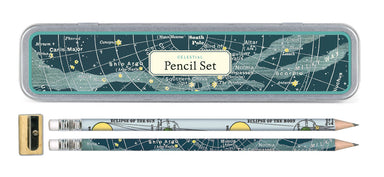Cavallini & Co. Celestial Pencil Set comes packaged in a reusable tin. Set of ten pencils, 5 each of two designs; comes with a sharpener.
