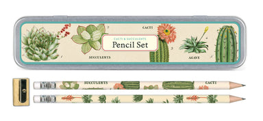 Cavallini & Co. Cacti & Succulents pencil set comes packaged in a reusable tin. Set of ten pencils, 5 of each design comes with a sharpener.