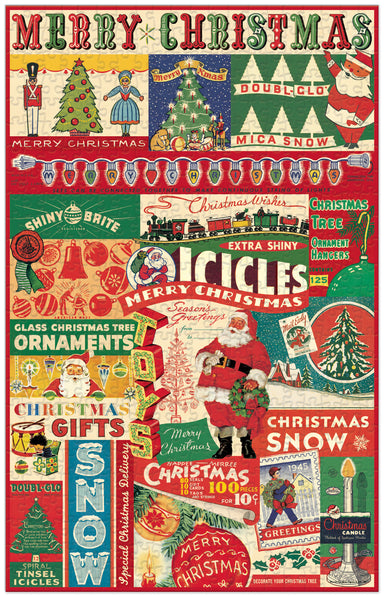 Bright and cheerful vintage holiday images are collaged to create this puzzle.