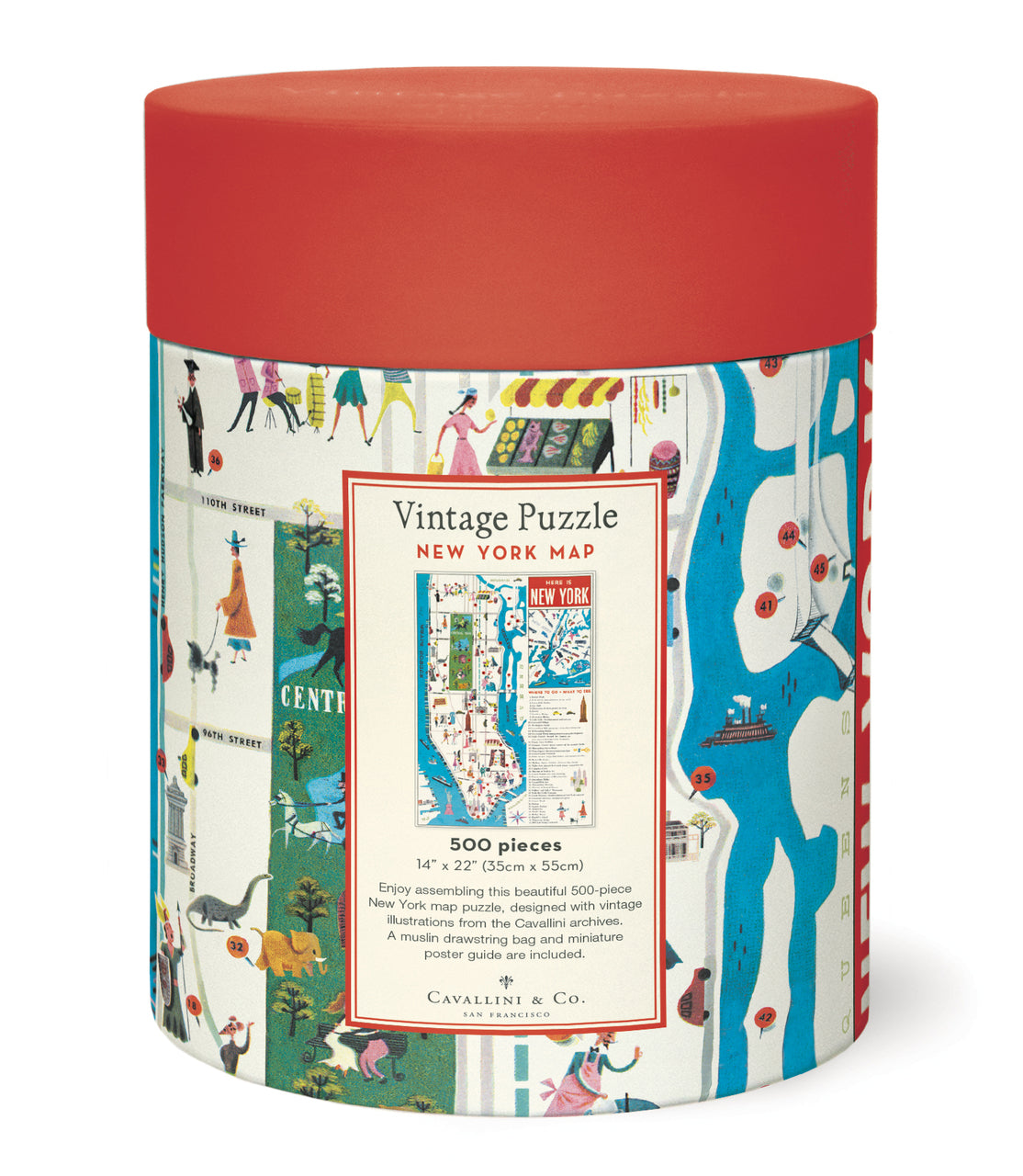 The 500 piece puzzles are packaged in a 6.5 inch long cardboard tube, with puzzle pieces safely stored in a muslin bag inside.