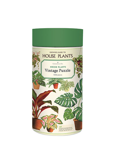 The House Plants puzzle by Cavallini & Co. is a guide to growing, with general instructions on hanging plants, fertilizers, soil, temperatures, and pruning.
