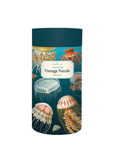 NEW for 2020- Jellyfish puzzle by Cavallini & Co. The Jellyfish puzzle is based on Cavallini's Jellyfish Decorative Paper, a beautifully detailed, colorful scientific chart.