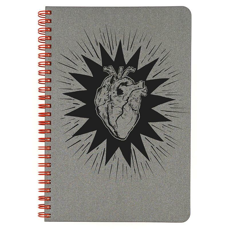 Grey Heart Beat small spiral bound notebook.