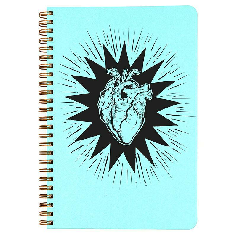 Hot Blue Heart Beat small spiral bound notebook.