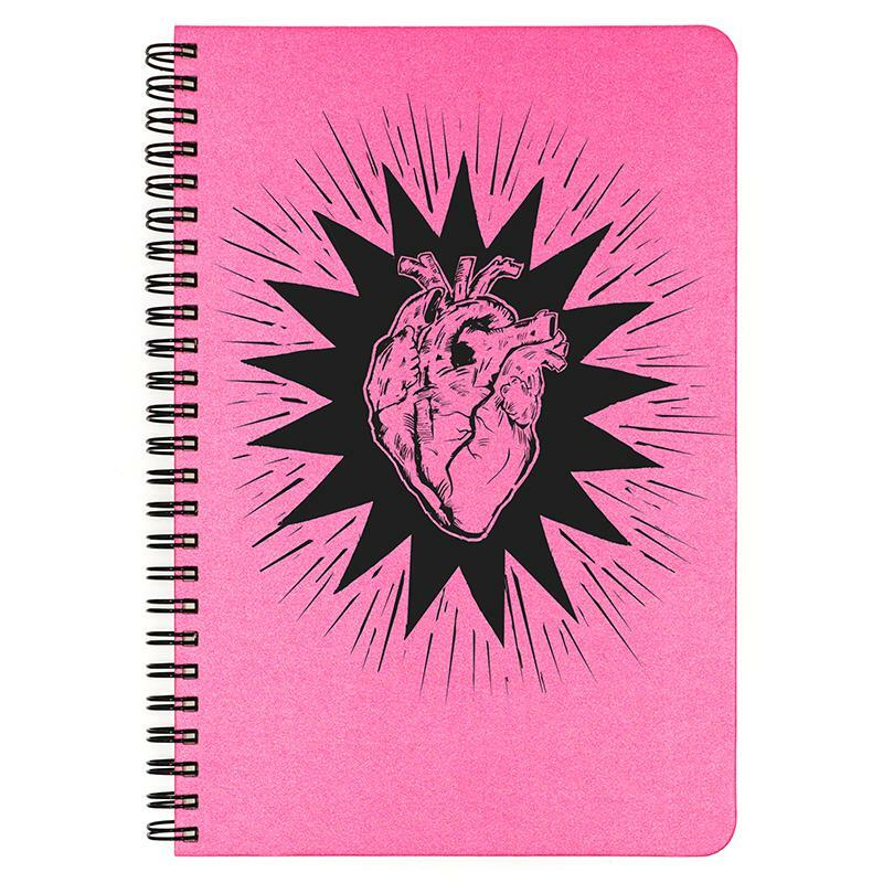 Hot Pink Heart Beat small spiral bound notebook.