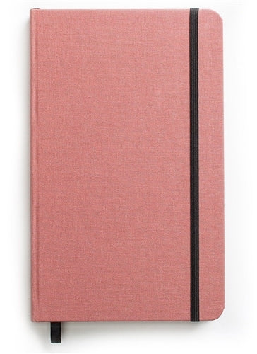 Shinola Lined Journal, Salmon Pink features a hard linen cover.