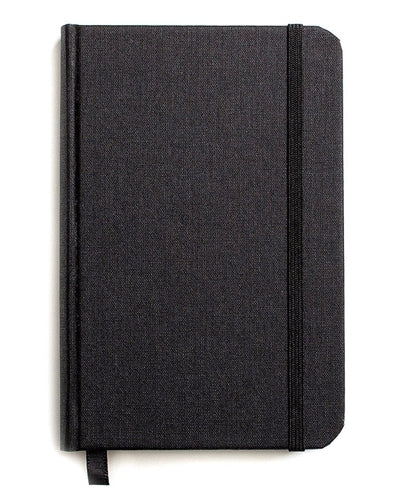 Shinola Hard Linen Lined Journal, Black, 3 x 5 Inches