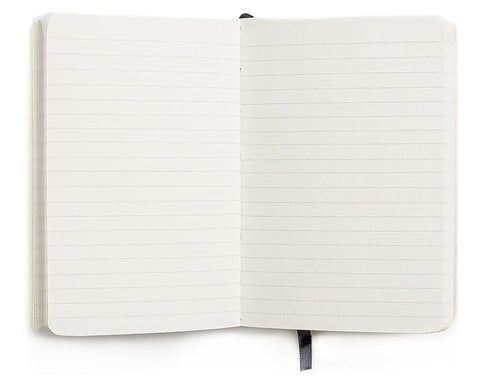 The Shinola Black journal measures 3 by 5 inches and features lined paper.