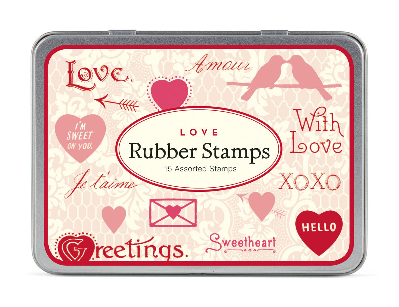 "Cavallini & Co. Valentine's ""Love"" Stamp Set will help you complete any Valentine's card, envelope, or package."