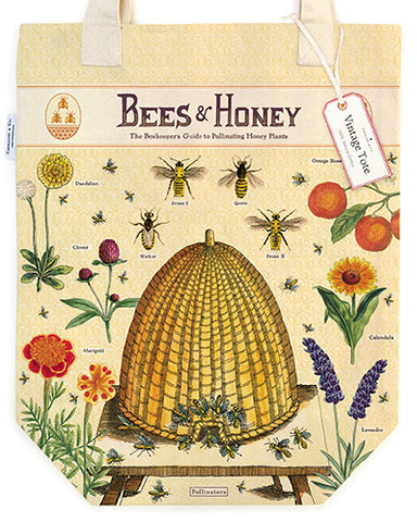 Bees & Honey Vintage Tote Bag features bright and beautiful images of a French bee hive, varieties of bees, and some of their favorite flowers and plants.