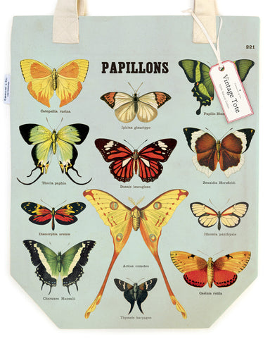 A selection of butterflies, complete with scientific names, adorn this tote bag.