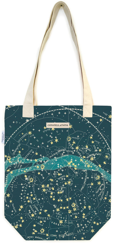 Celestial Tote Bag features a universe of stars and constellations on a dark blue background.
