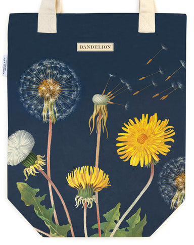 Dandelion Vintage Tote Bag features features beautiful vintage botanical imagery of dandelions in different stage of growth and bloom.