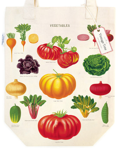 Vegetable Garden Tote Bag features colorful and detailed vintage images of root vegetables, tomatoes, beans, chard and more.