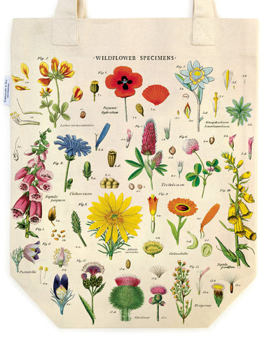 Cavallini & Co. Wildflowers Cotton Tote Bag is densely packed with vintage wildflower images.