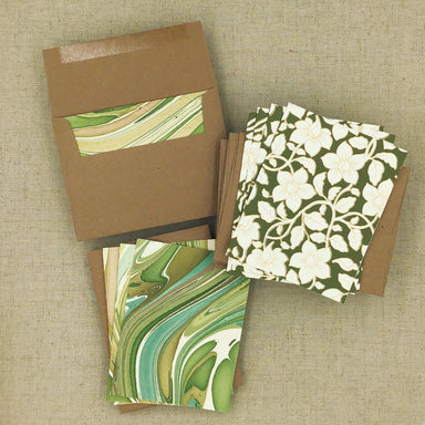 Two Hands Made Recycled Cotton Stationery- Package of 8- Green