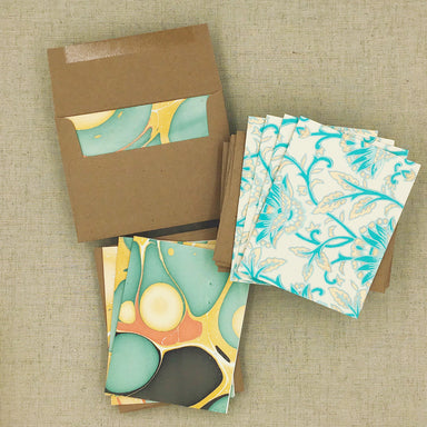 Two Hands Made Recycled Cotton Stationery- Package of 8- Light Blue