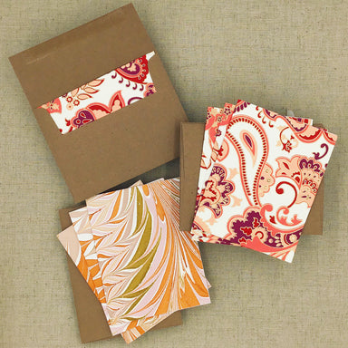 Two Hands Made Recycled Cotton Stationery- Package of 8- Peach