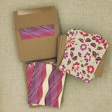 Two Hands Made Recycled Cotton Stationery- Package of 8- Purple