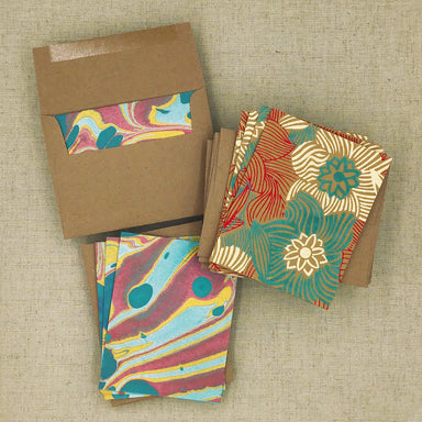 Two Hands Made Recycled Cotton Stationery- Package of 8- Teal