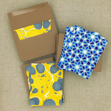 Two Hands Made Recycled Cotton Stationery- Package of 8- Yellow-Blue