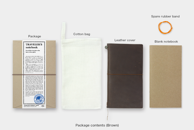 All of the Regular Size Brown Midori Traveler's Notebook comes packaged in a cotton bag with a blank refill and a replacement band.