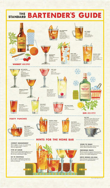 """The Standard Bartender's Guide"" tea towel is complete with whiskey, gin, and party punch recipes, and a few hints for the home bar thrown in."