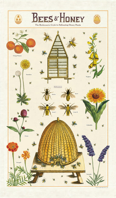 Bees & Honey tea towel is a collage of hives, bees, and and assortment of favorite flowers ready for pollinating.