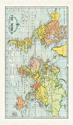 Cavallini World Map Cotton Tea Towel features a a vintage world map- keep the world at hand, even in your kitchen.