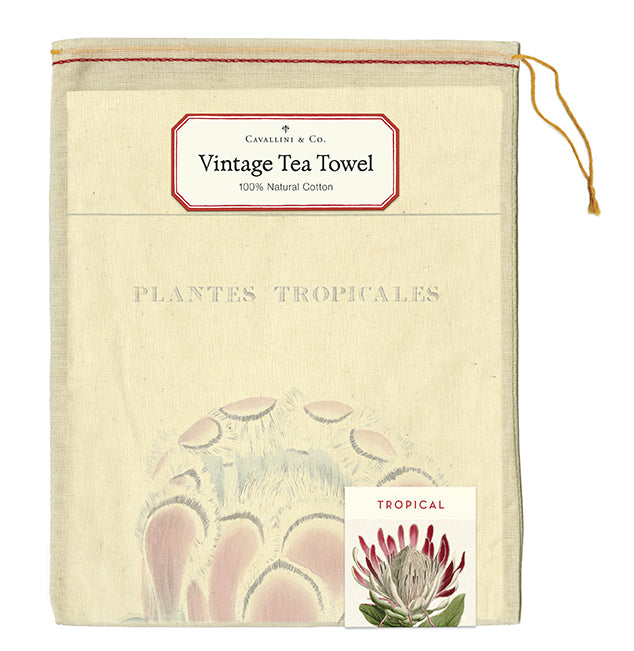 "Cavallini & Co. natural cotton tea towels measure 19"" x 31.75"" (48cm x 80cm)."