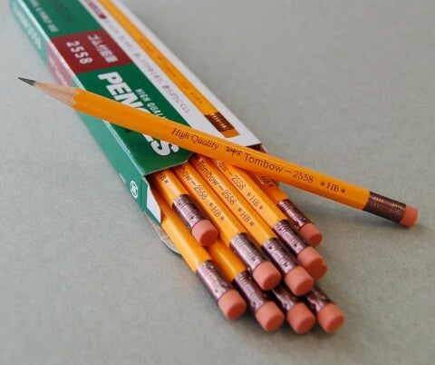 The Tombow 2558 HB pencil comes unsharpened.  Available as a single pencil or in a box of 12.