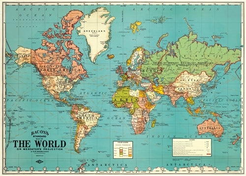Cavallini & Co. World Map 4 Decorative Paper