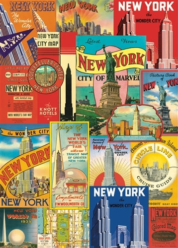 Cavallini New York Travel Labels Decorative Wrap features vintage New York labels printed on high quality paper.