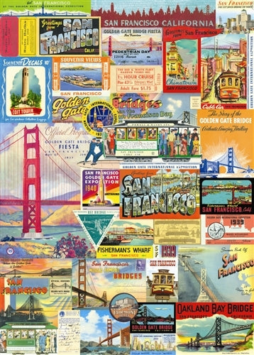 Cavallini San Francisco Decorative Wrap features a variety of images from San Francisco.