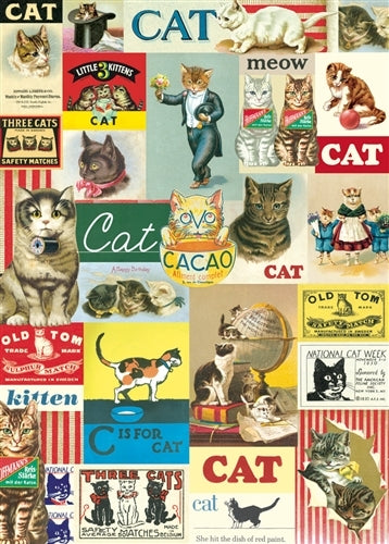 Cavallini Vintage Cats Decorative Wrap features reproductions of vintage cat imagery.