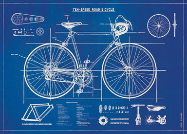 A poster-style print, this Cavallini wrap measures 20 by 28 inches. This wrap is a reproduction of a vintage bicycle blueprint, complete with labels and dimensions.