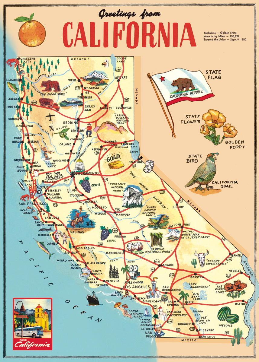 Cavallini & Co. California vintage map reproduction.