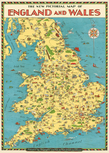 "Cavallini & Co. England Map Decorative Wrap measures 20"" by 28"". Reproductions of vintage images printed on fine, high quality laid paper. Ready to hang, frame, or be used for wrapping or embellishments."