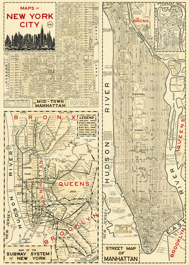 Cavallini New York Map 4 Decorative Wrap is made in Italy and measures 20 by 28 inches. Vintage maps printed on fine, high quality laid paper. Ready to use in collage or hang on the wall.