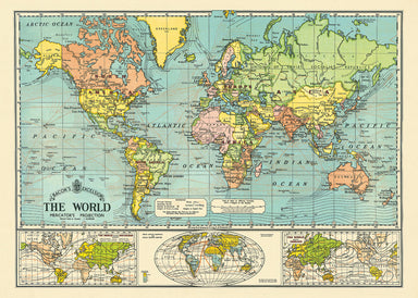 "Cavallini & Co. World Map Decorative Wrap measures 20"" by 28"". A reproduction of ""Bacon's Excelsior Map of the World"" printed on fine, high quality laid paper."