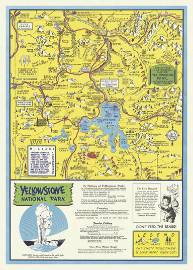 Cavallini & Co. Yellowstone National Park Decorative Wrap- complete with park map and inset information on the geyser.