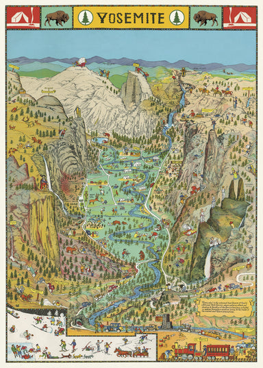 Cavallini & Co. Yosemite National Park Decorative Wrap details roads, trails, and major attractions of the park.
