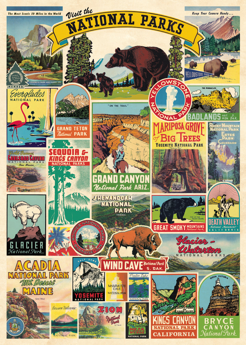 Cavallini & Co. National Parks Decorative Wrap compiles favorite emblems from some of the most well known national parks- Zion, Glacier, Grand Canyon, Rocky Mountain, and many more.