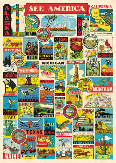 Cavallini & Co. See America Decorative Wrap compiles favorite emblems from many of the 50 states.