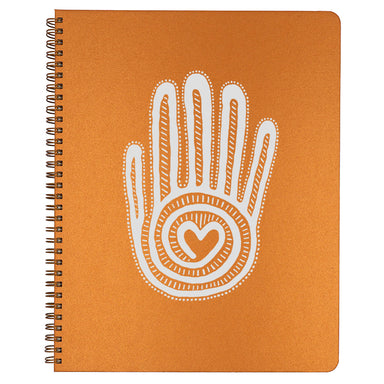 Large Mano y Corazon Spiral Bound Notebook in copper.